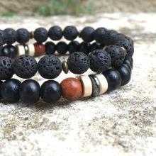 X2 bracelets Lave/Hematite