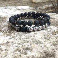 X2 bracelets Hematite/Lave