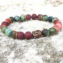 """Bracelet """"Turquoise & Jaspe rouge"""""""